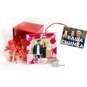Квадратна кутийка с късметчета - Розови рози