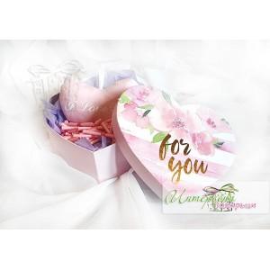 Голяма кутийка сърце с късметчета - Плюшено сърце - Розово