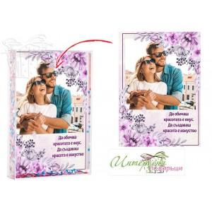 Преспапие - Цветни брокатчета - Лилави цветя