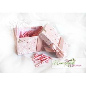 Кутийка сърце с късметчета - Розова панделка