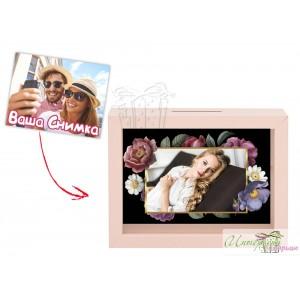 Касичка със снимка - Нежни цветя