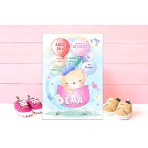Колаж - Бебешка визитка за момиченце - Коте
