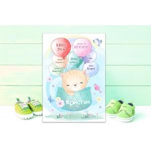 Колаж - Бебешка визитка за момченце - Коте