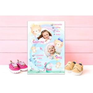 Колаж - Бебешка визитка със снимки - Котета