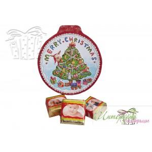 Метална кутийка с бонбони с ваши снимки - Коледна елха