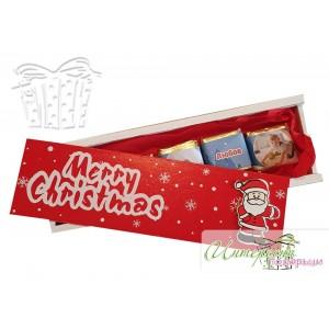 Дървена кутийка с бонбони с ваши снимки - Червена