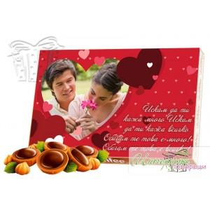 Бонбони със снимка - Сърца - Червени
