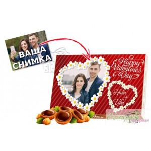 Кутия бонбони със снимка - Романтични сърца