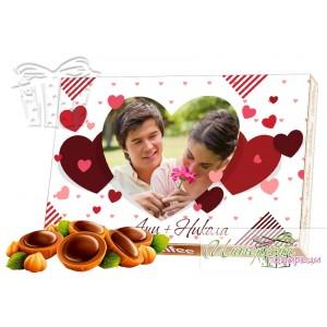 Бонбони със снимка - Сърца - Бяло