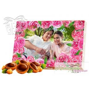 Бонбони със снимка - Розови рози - Рамка