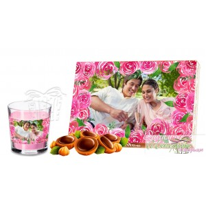 Романтичен пакет - Розови рози - Рамка