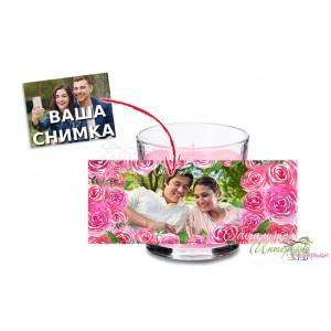Ароматна свещ - Розови рози - Рамка