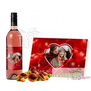 Пакет бонбони и етикет за бутилка - Сърца и рози