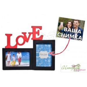 Рамка за 2 снимки - черна - Love