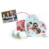 Кутийка със снимка и бонбони с послание - I Love you