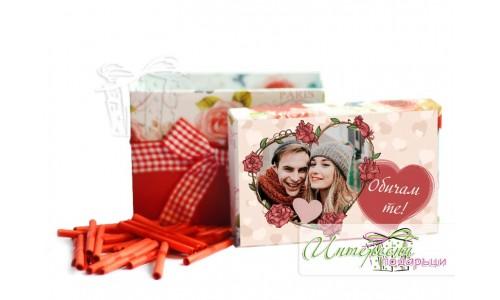 Кутийка с късметчета и снимка - Сърце и рози