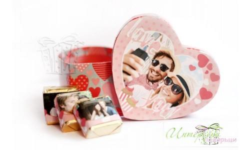 Кутийка и бонбони със снимка - розово - Love you