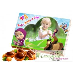 Кутия бонбони със снимка - Маша и мечока
