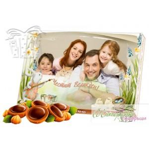 Кутия бонбони със снимка - великденски заек