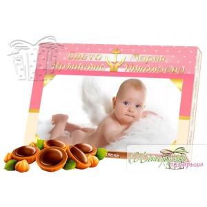 Кутия бонбони със снимка - Кръщене - розово