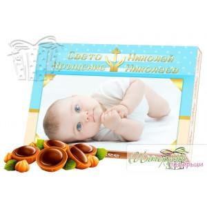 Кутия бонбони със снимка - Кръщене - синьо