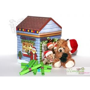 Кутийка с късметчета - Коледна къщичка + Мече