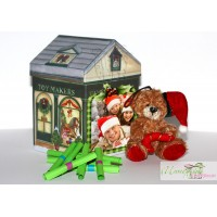 Коледна кутийка с късметчета - Къщичка + Мече