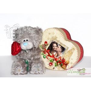 Коледна кутийка с късметчета - Сърчице + Мече