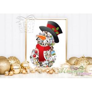 Коледен колаж от снимки - Снежен човек