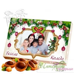 Кутия бонбони със снимка - Коледна рамка