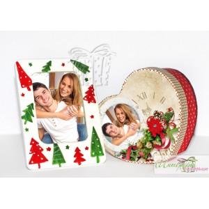 Коледна кутийка с късметчета - Сърчице + Коледна рамка
