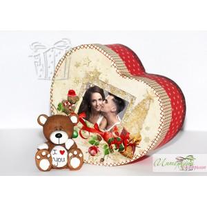 Коледна кутийка с късметчета - Сърчице + Кафяво мече