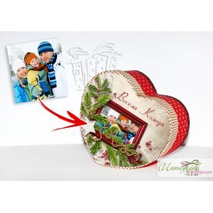 Коледна кутийка с късметчета - Сърчице - рамка