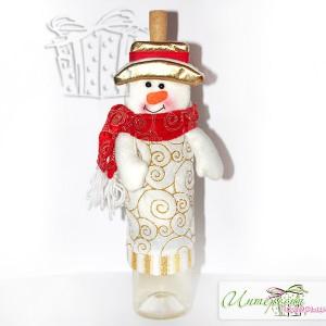 Коледен подарък - дрешка за бутилка - Снежен човек