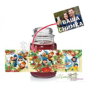 Коледна свещ със снимка - Голям буркан - Цветна Коледа