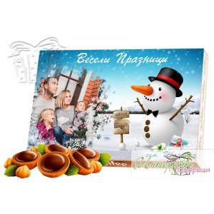 Кутия бонбони със снимка - Коледа - Снежен човек