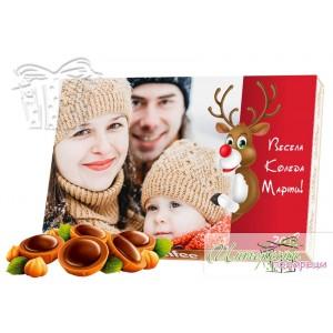 Кутия бонбони със снимка - Коледен елен