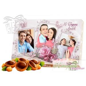 Кутия бонбони със снимка - Годишнина - Розово