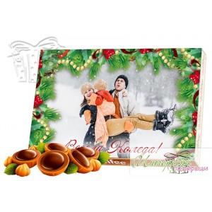 Кутия бонбони със снимка - Коледа - Зелена рамка
