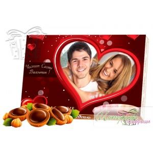 Кутия бонбони със снимка -  Сърце - Червено