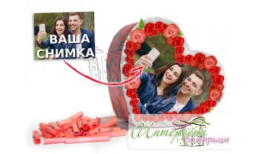 Кутийка с късметчета - Сърце от Рози
