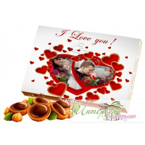 Кутия бонбони със снимка - Сърчица